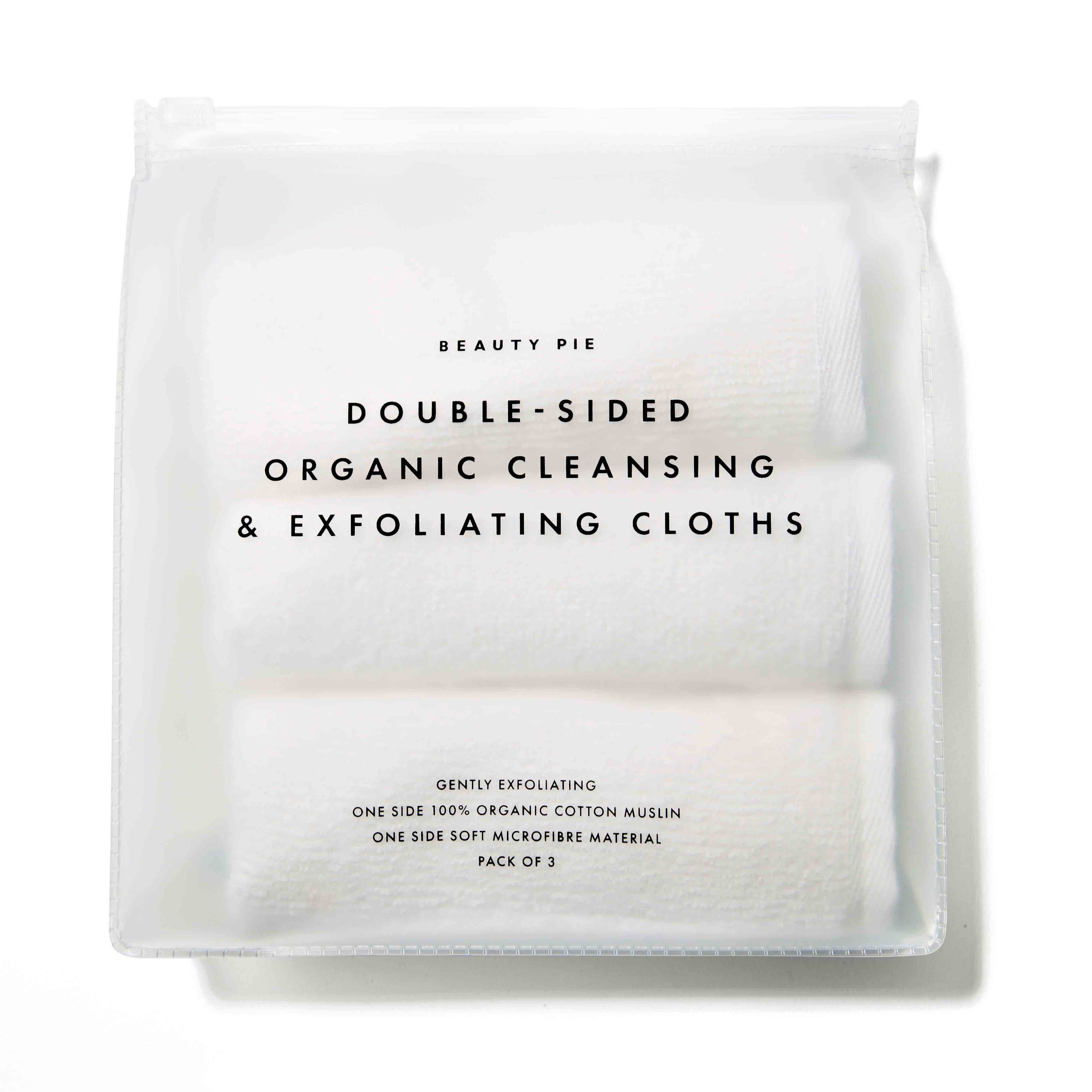Double-Sided Organic Cleansing & Exfoliating Cloths by Beauty Pie