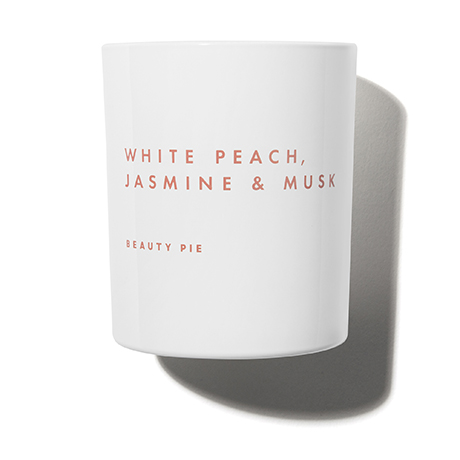 White Peach, Jasmine & Musk Luxury Scented Candle by Beauty Pie
